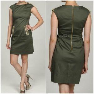 Eliza J Olive Green Gold Zipper Sheath Mini Dress
